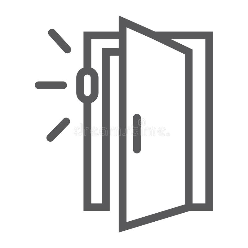Drzwiowa czujnik linii ikona, dostęp i ochrona, automatyczny drzwi znak, wektorowe grafika, liniowy wzór na białym tle ilustracja wektor