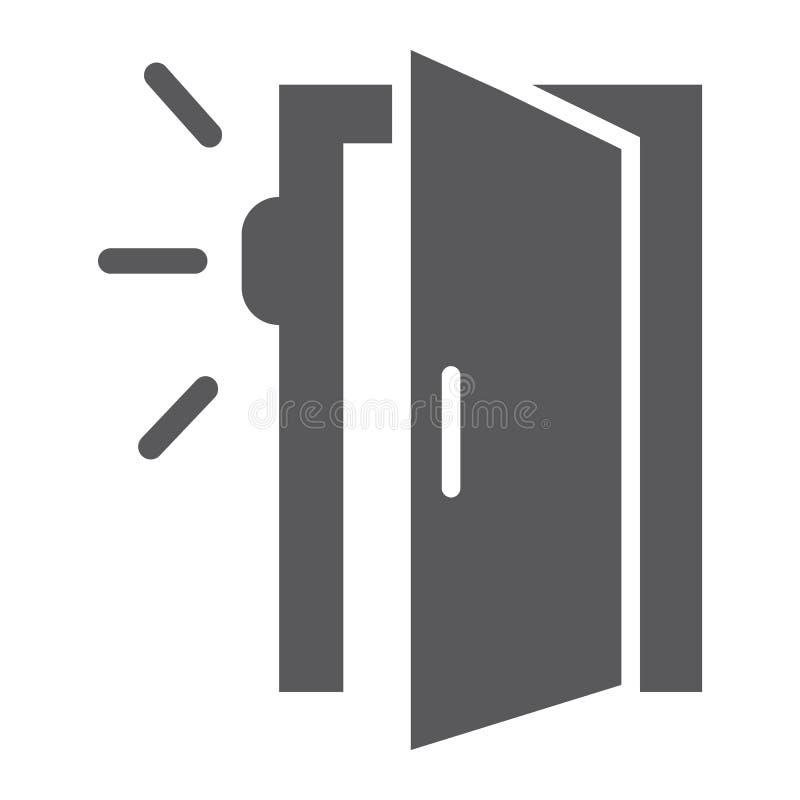 Drzwiowa czujnika glifu ikona, dostęp i ochrona, automatyczny drzwi znak, wektorowe grafika, bryła wzór na białym tle royalty ilustracja