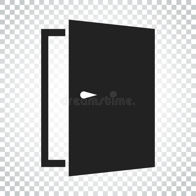 Drzwiowa wektorowa ikona wyjście ikona ilustracja drzwi otwarte Prosty busi royalty ilustracja