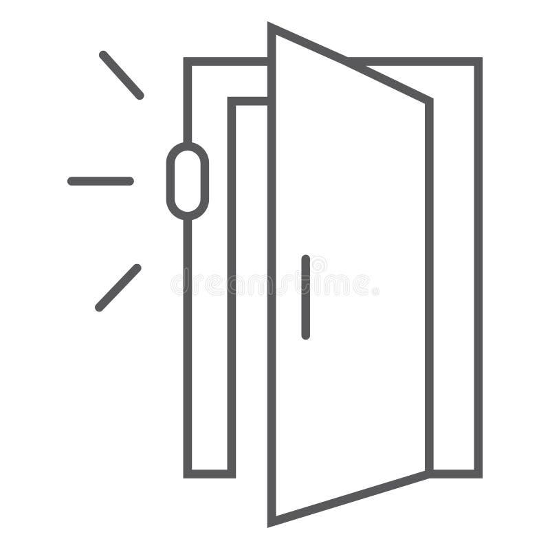 Drzwiowego czujnika cienka kreskowa ikona, dostęp i ochrona, automatyczny drzwi znak, wektorowe grafika, liniowy wzór na bielu ilustracji