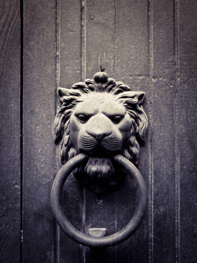 drzwiowego knocker lew kształtujący zdjęcia stock