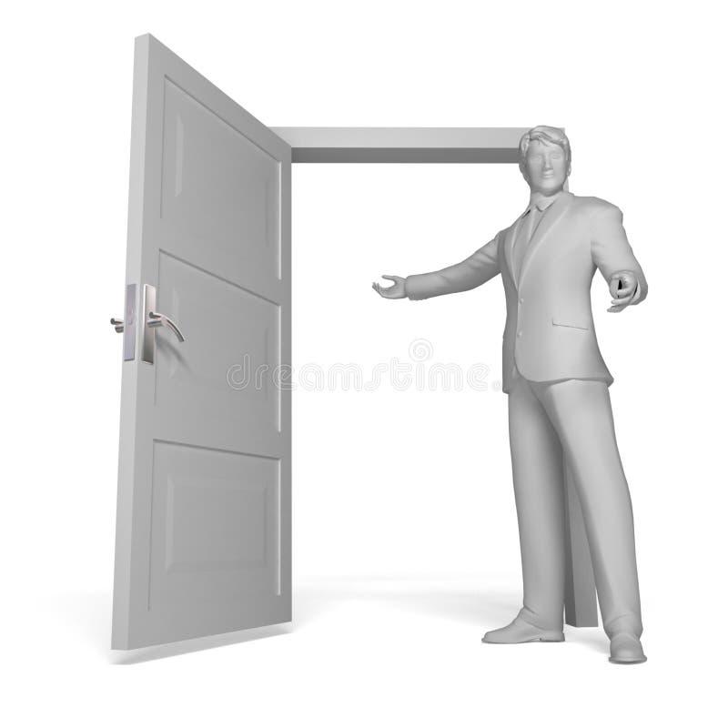 drzwiowego mężczyzna otwarty target1890_0_ royalty ilustracja