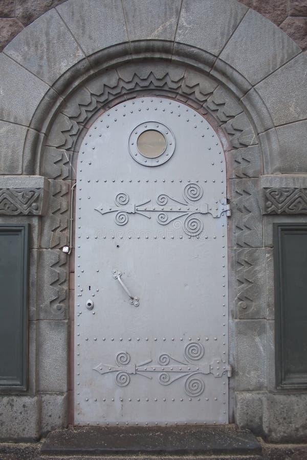 drzwiowego metalu nautyczny porthole okno obrazy stock