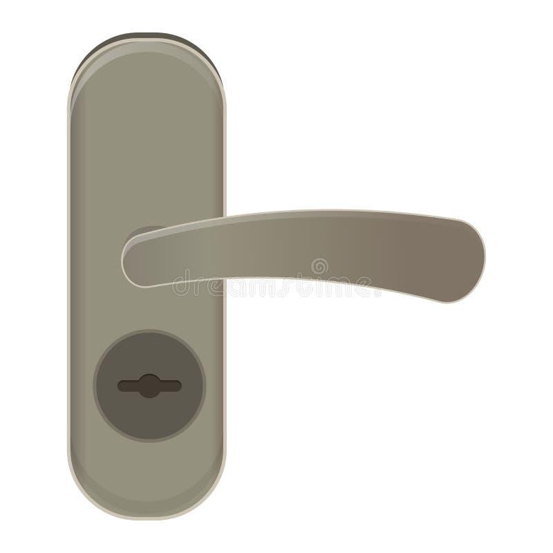 Drzwiowej rękojeści wektorowy doorknob kędziorków drzwi i metal rękojeść w domowy wewnętrzny ilustracyjnym ustawiającym wejście w ilustracji