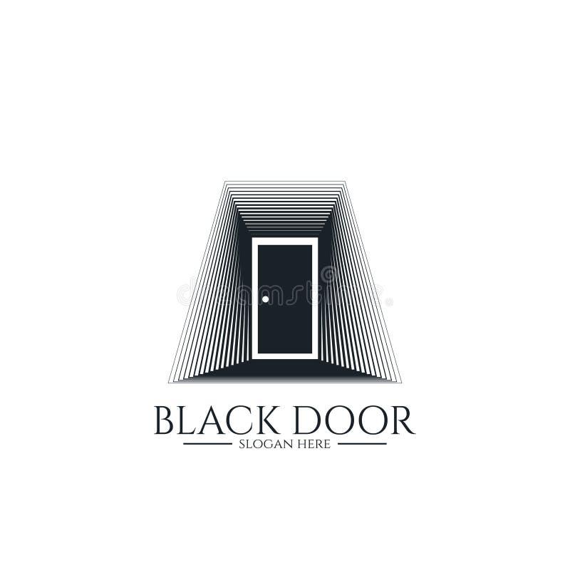 drzwiowy brama logo dla domowego wejścia minimalny drewniany czerń domu drzwi lub nieruchomość biznes architektura lub miastowy m royalty ilustracja