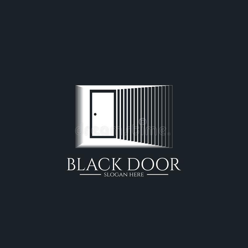 drzwiowy brama logo dla domowego wejścia minimalny drewniany czerń domu drzwi lub nieruchomość biznes architektura lub miastowy m ilustracji