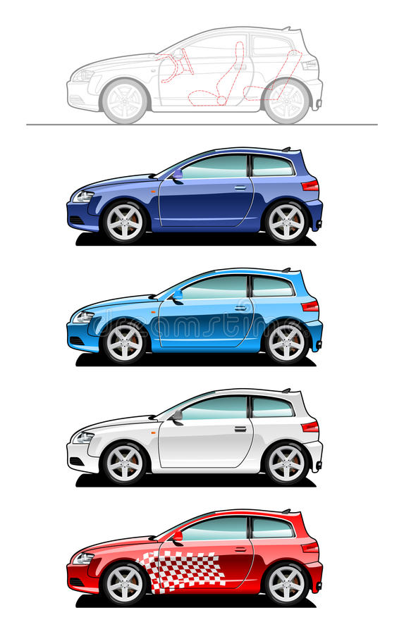 drzwiowy hatchback trzy royalty ilustracja
