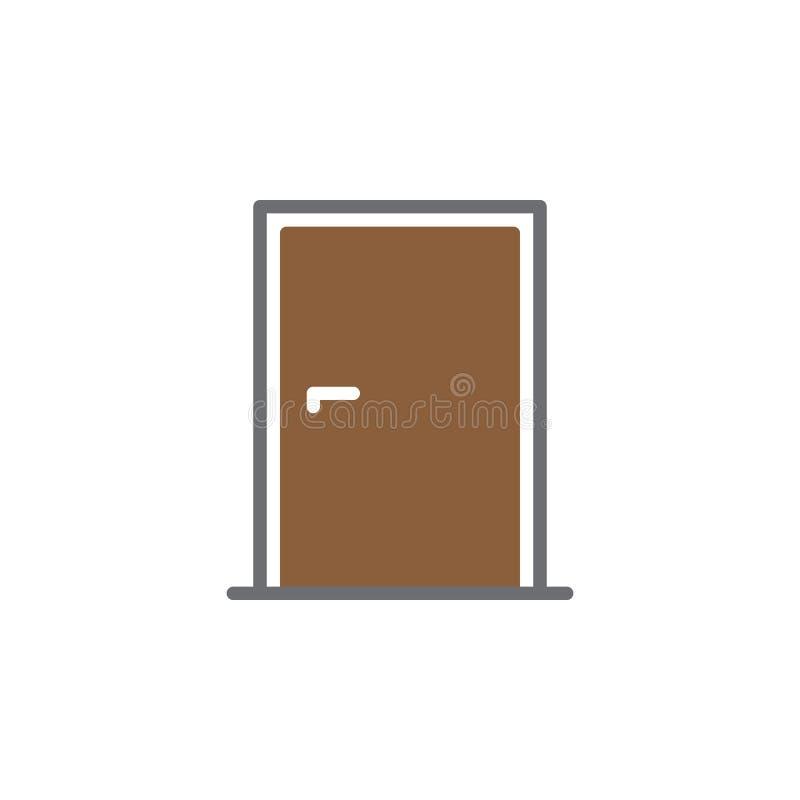 Drzwiowy ikona wektor, wypełniający mieszkanie znak, stały kolorowy piktogram odizolowywający na bielu royalty ilustracja