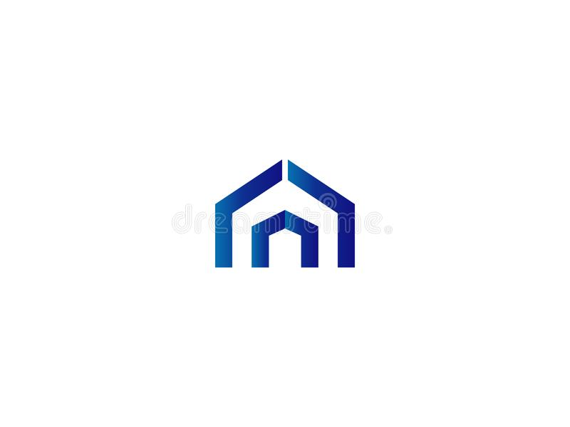 Drzwiowy logo dla domu lub nieruchomości pisze list A lub d wejście, brama, budowa, drzwi symbol royalty ilustracja
