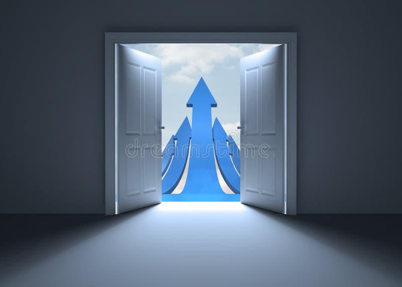 Drzwiowy otwarcie pokazywać strzała ilustracja wektor