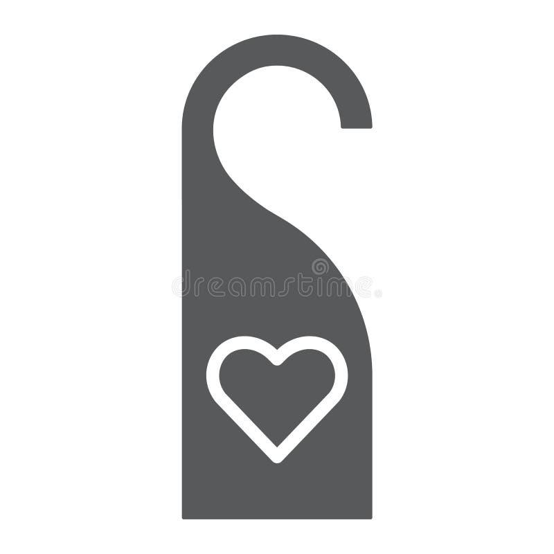 Drzwiowy wieszak z kierową glif ikoną, etykietką i miłością, no zakłóca szyldowych, wektorowych grafika, bryła wzór na bielu ilustracji