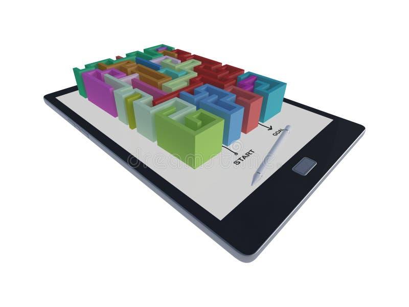 3Ds有迷宫比赛的片剂 库存例证