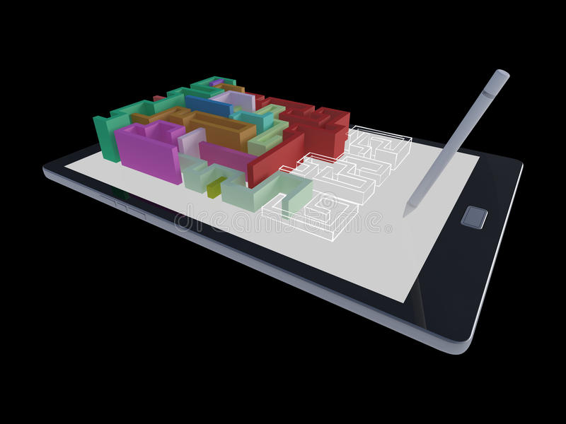 3Ds有迷宫比赛的片剂 向量例证
