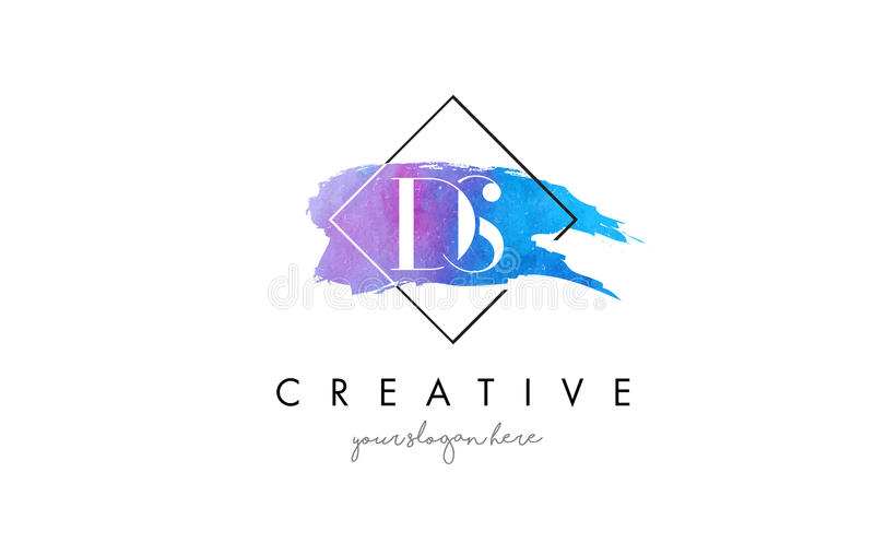 DS Artistic Watercolor Letter Brush Logo. royalty free illustration