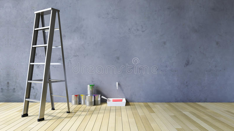 3Ds blank wall and painting tools royalty free stock images