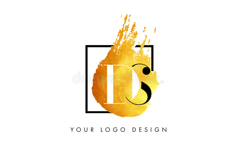 Ds-Goldbuchstabe Logo Painted Brush Texture Strokes lizenzfreie abbildung