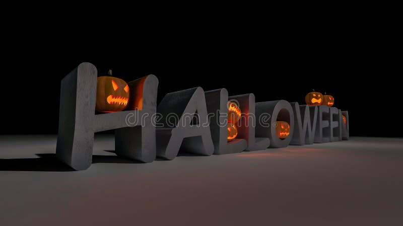 3ds Halloween-woord en pompoenhoofd vector illustratie