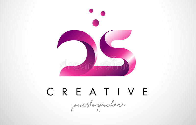 ds letter logo design with purple colors and dots stock