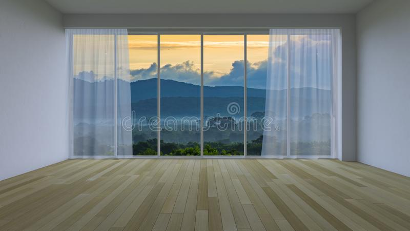 3Ds rendering blank interior-Living room. Which see to mountain and forest out of window royalty free illustration