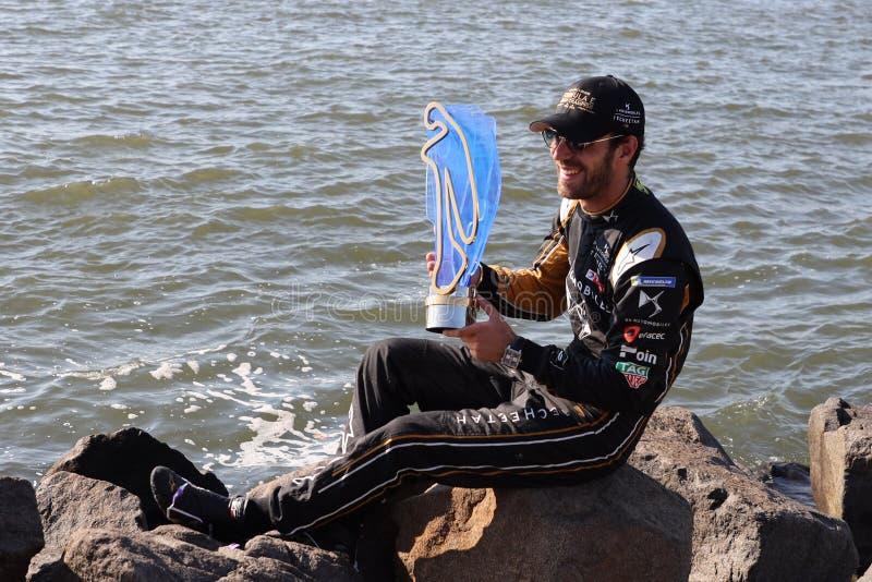 DS Techeetah队的让-埃里克・维尔格尼FRA在纽约庆祝历史的两次FIA惯例E世界冠军  图库摄影