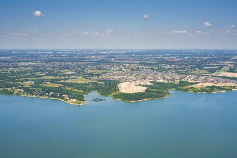 Aerial view of Lavon Lake, Texas, USA. stock photos