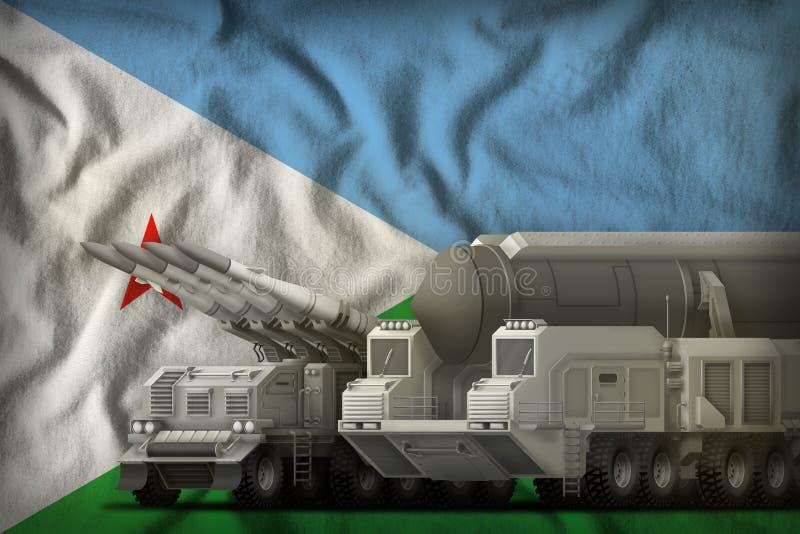 Dschibuti-Raketentruppenkonzept auf dem Staatsflaggehintergrund Abbildung 3D stock abbildung