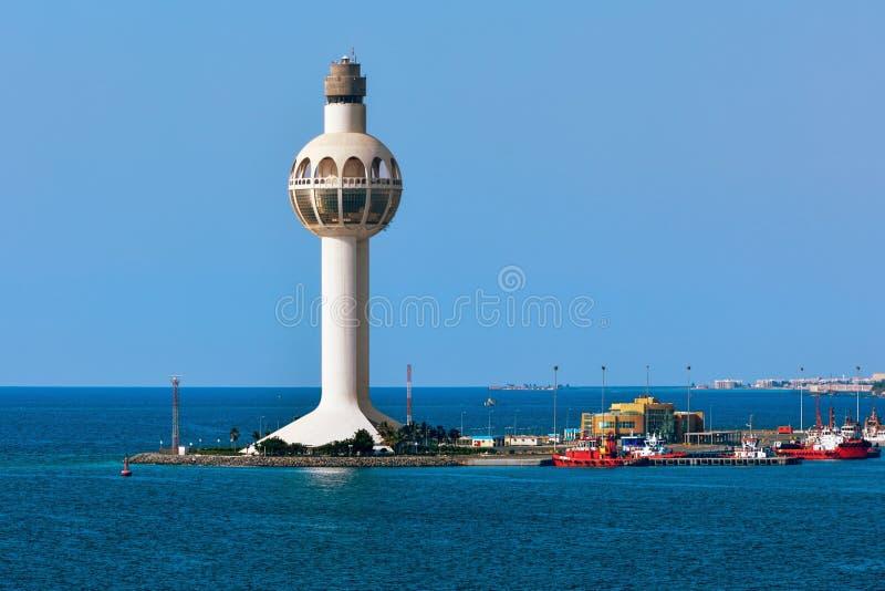 Dschidda-Hafen-Kontrollturm stockfotos