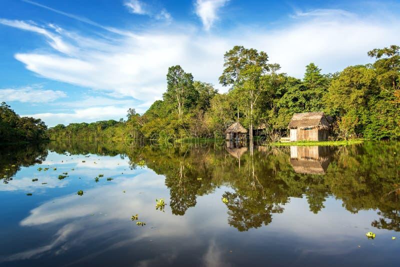 Dschungel-Bretterbude und Himmel stockfotografie