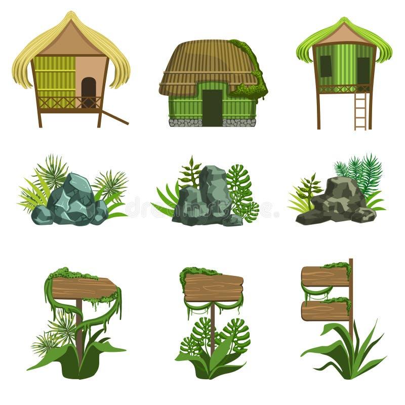 Dschungel-Landschaftselement-Satz lizenzfreie abbildung