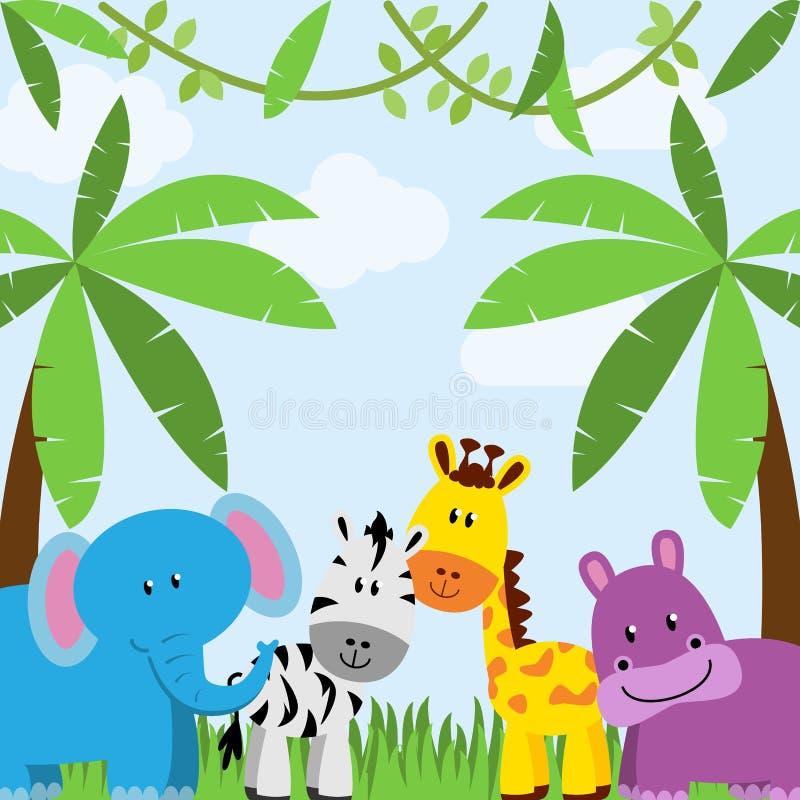 Dschungel-oder Zoo-themenorientierter Tierhintergrund vektor abbildung