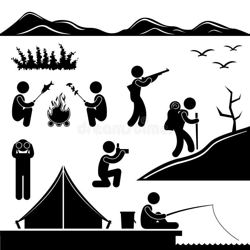 Dschungel-Trekking, das kampierendes Lager wandert stock abbildung