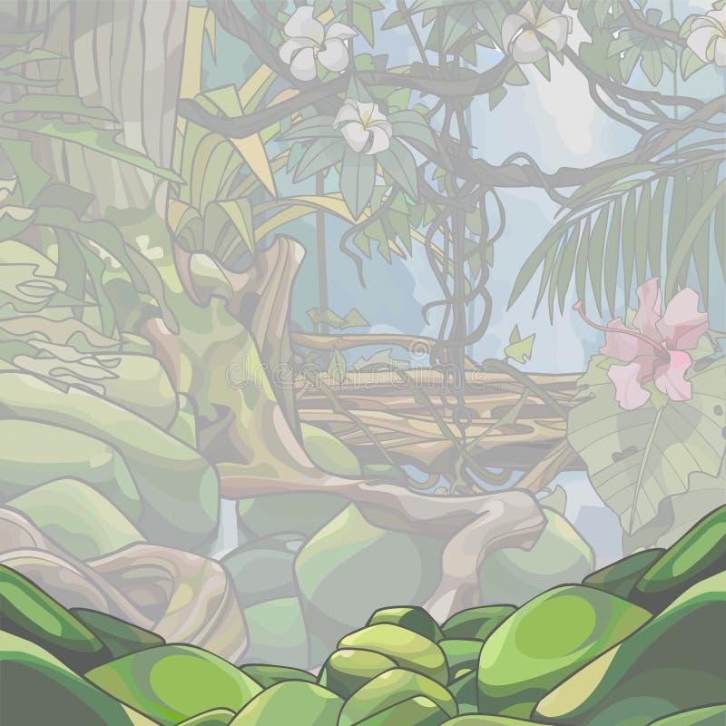 Dschungelhintergrund von starken tropischen Bäumen und von Anlagen im Nebel vektor abbildung