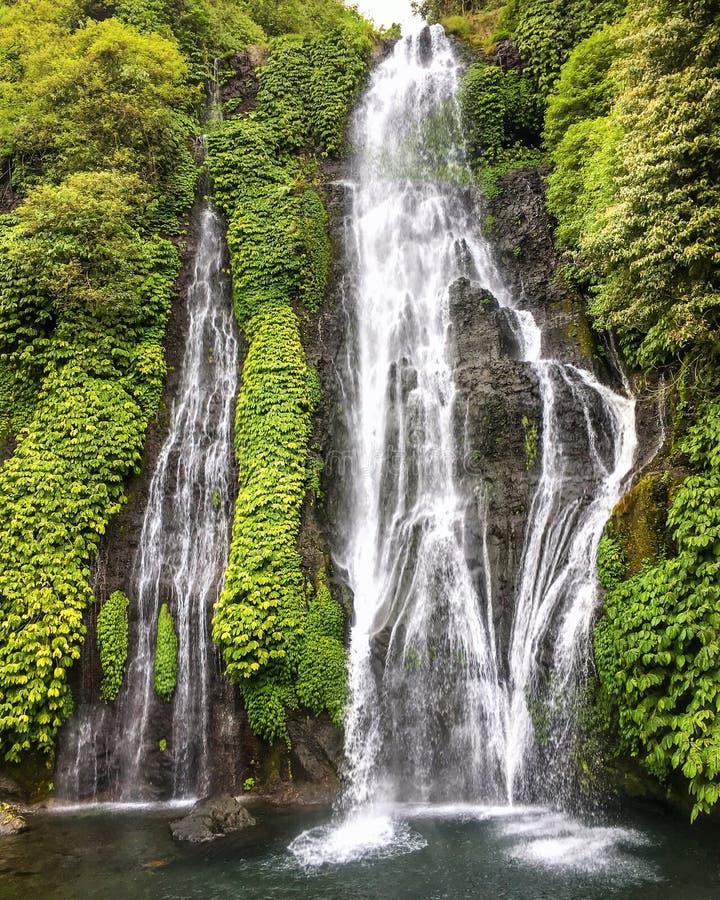 Dschungelhochwasserfallkaskade im tropischen Regenwald mit Felsen auf Bali, Indonesien lizenzfreies stockfoto