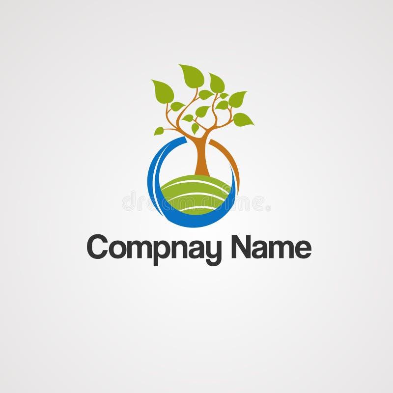Dschungellandwirtschaftslogovektor, -ikone, -element und -schablone für Firma lizenzfreie abbildung