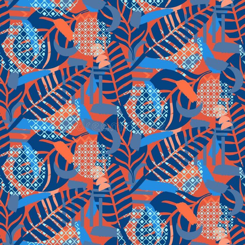 Dschungelmuster Roter und blauer abstrakter strukturierter Vektorhintergrund lizenzfreie abbildung