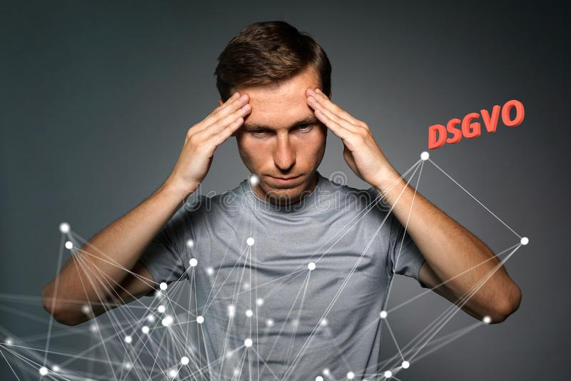DSGVO, GDPR的德语版本,概念图象 一般数据保护章程,个人数据的保护 库存照片