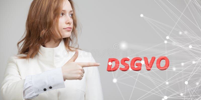 DSGVO, немецкая версия GDPR, изображение концепции Общая регулировка защиты данных, защита личных данных Молодые стоковые изображения