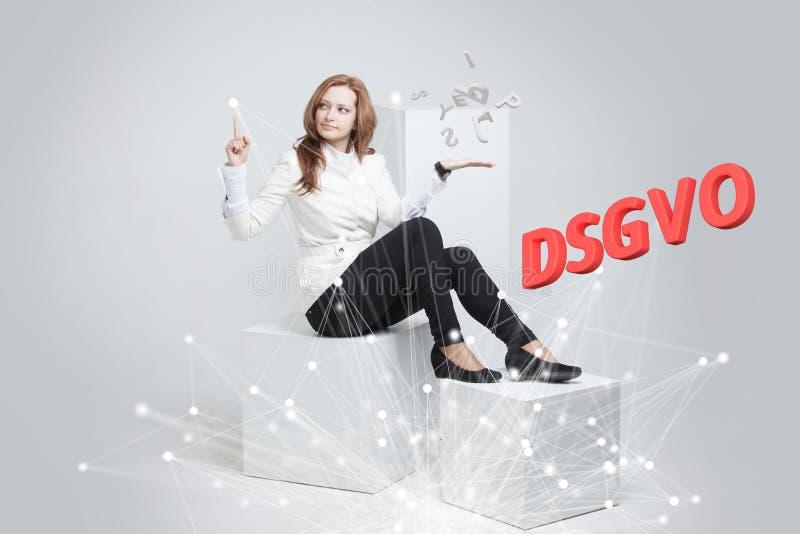 DSGVO, немецкая версия GDPR, изображение концепции Общая регулировка защиты данных, защита личных данных Молодые стоковое изображение rf