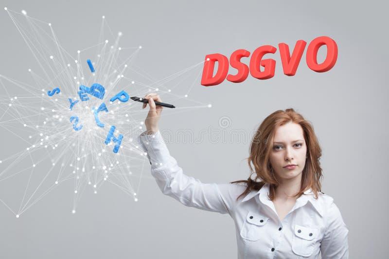 DSGVO, немецкая версия GDPR, изображение концепции Общая регулировка защиты данных, защита личных данных Молодые стоковые изображения rf