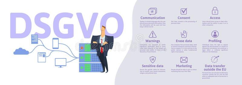 DSGVO, немецкая версия GDPR: Datenschutz Grundverordnung иллюстрация вектора концепции Общая защита данных иллюстрация штока