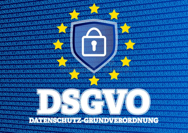DSGVO Datenschutz Grundverordnung - German for GDPR European General Data Protection Regulation - illustration with binary code vector illustration