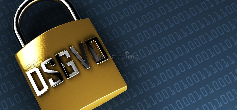 DSGVO Datenschutz-Grundverordnung, German text for GDPR basic data protection regulation vector illustration