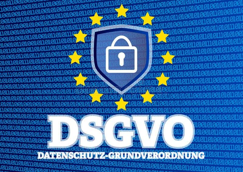 DSGVO Datenschutz Grundverordnung - tysk för reglering för skydd för allmänna data för GDPR europeisk - illustration med binär ko vektor illustrationer