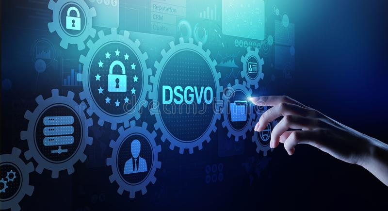 DSGVO, GDPR General data protection regulation european law cyber security personal information privacy concept stock images