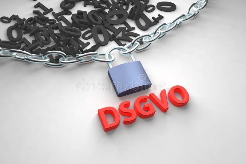 DSGVO, german version of GDPR, concept illustration. General Data Protection Regulation, the protection of personal data royalty free illustration