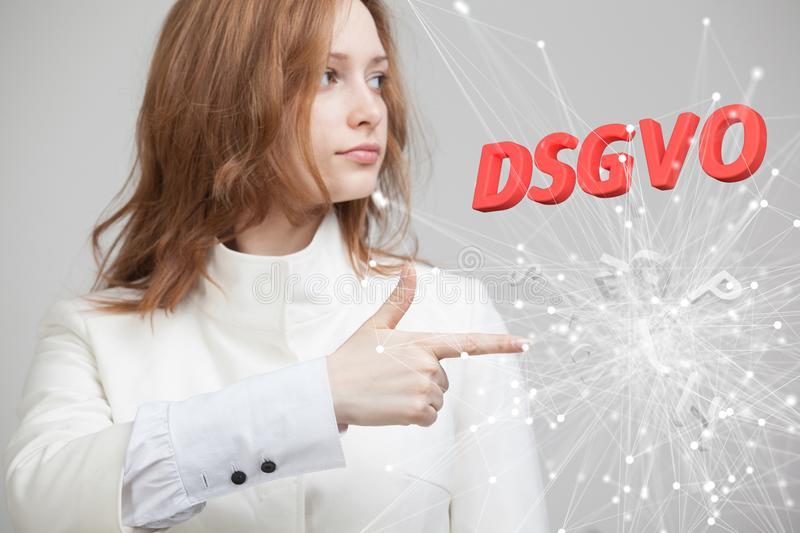 DSGVO, german version of GDPR, concept image. General Data Protection Regulation, protection of personal data. Young stock photo