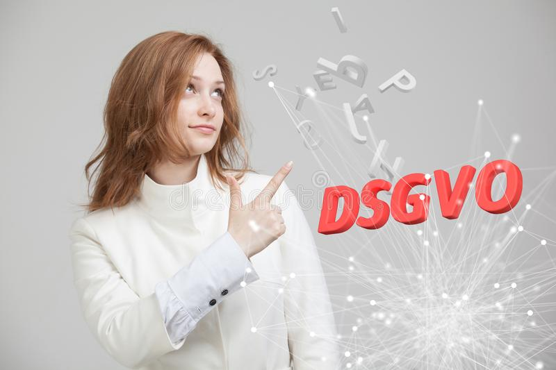 DSGVO, german version of GDPR, concept image. General Data Protection Regulation, protection of personal data. Young stock photos