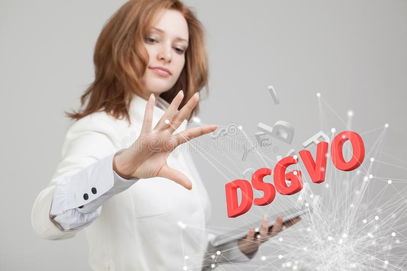 DSGVO, german version of GDPR, concept image. General Data Protection Regulation, protection of personal data. Young royalty free stock images