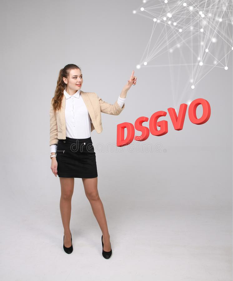 DSGVO, german version of GDPR, concept image. General Data Protection Regulation, protection of personal data. Young stock photography