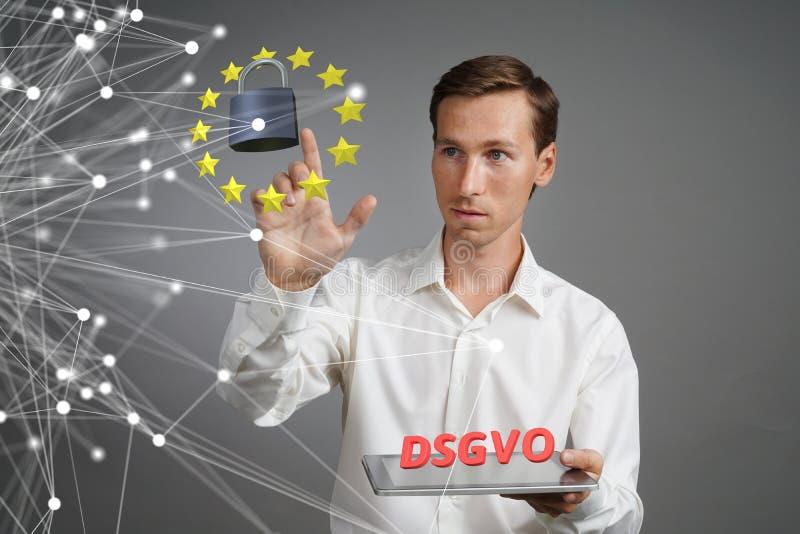 DSGVO, niemiecka wersja GDPR Ogólnych dane ochrony Przepisowy pojęcie ochrona osobiści dane Młody człowiek zdjęcia stock